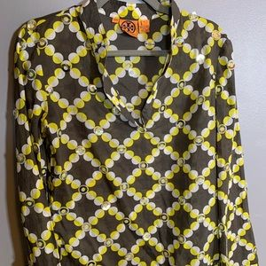Tory Burch yellow + brown shimmer blouse